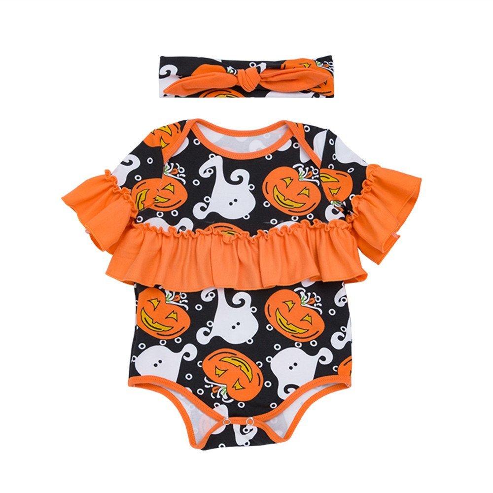 PLOT Baby Romper Halloween Pumpkin Jumpsuit Clothes Bodysuit Playsuit Outfit 0-18M