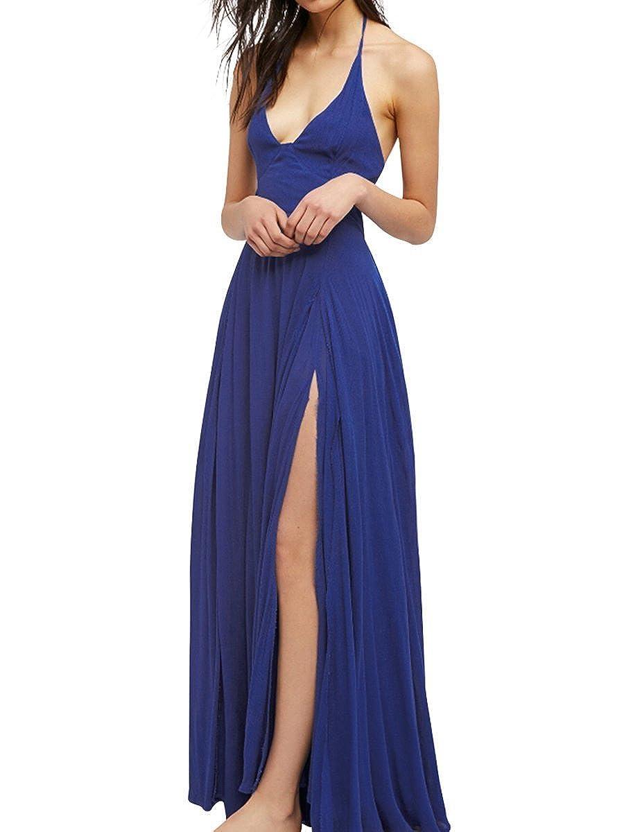 bluee FashionLee Women Halter Open Back CutOuts Evening Party Maxi Dress