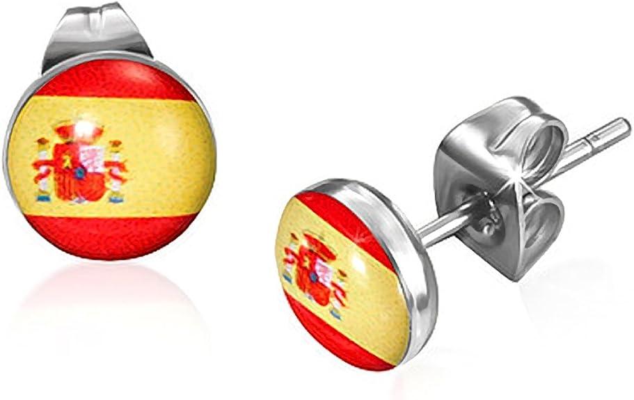 7 mm de acero inoxidable Bandera de España Círculo Pendientes: Mission: Amazon.es: Joyería