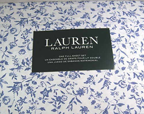 Lauren 4 Pc. Full Size Cottage Chic Floral Sheet Set Blue and White 100% Cotton (Lauren Full Ralph Sheets White)