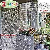 JOYIN Halloween 2 Pack 11ft Mega Spider Web for Halloween Outdoor Decoration - 1 Black and 1 White