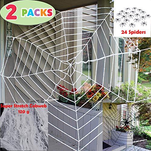 Spider Web Halloween Games (JOYIN Halloween 2 Pack 11ft Mega Spider Web for Halloween Outdoor Decoration - 1 Black and 1)