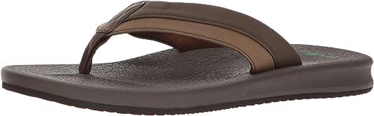 New Sanuk Men/'s Brumeister Sandals Brown Size 9 Flip Flops U-Lounge Comfort #CC