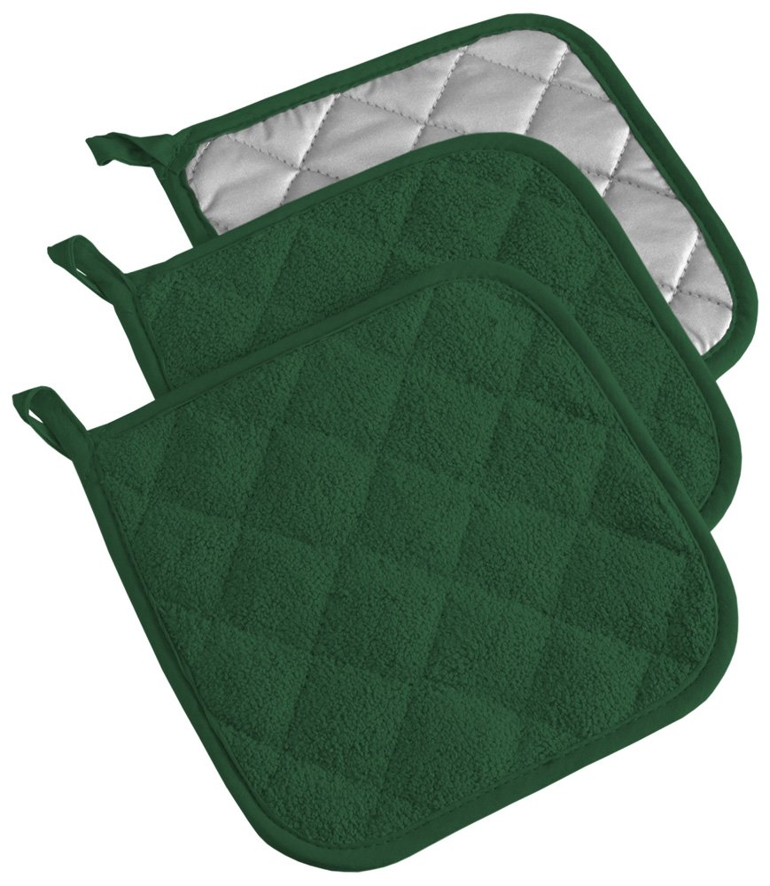 DII Cotton Terry Pot Holders, 7x7''  Set of 3, Heat Resistant and Machine Washable Hot Pads for Kitchen Cooking and Baking-Dark Green