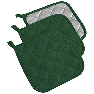 DII, Cotton Terry Pot Holders, Heat Resistant and Machine Washable, Set of 3, Dark Green