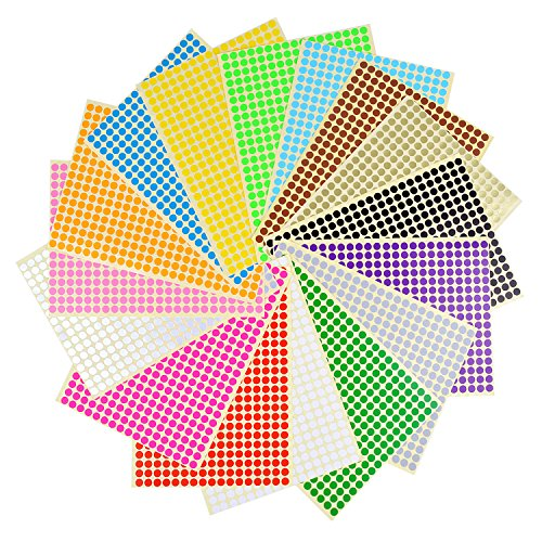 BronaGrand 16 Sheets Dia 1/4inch Self Adhesive Round Dot Stickers Coding Label Circle Stickers 6528 Dots in Pack 16 Colors