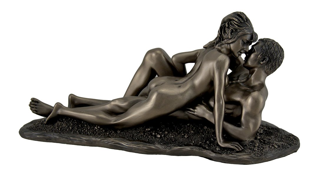 Veronese Design The Lovers Bronze Finished Statue Couple Laying on Beach