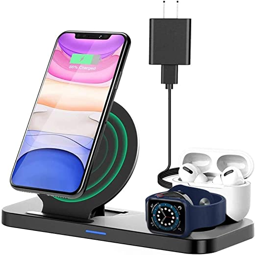 Wireless Charger Stand 3 in 1, Upgraded Wireless Charger Station for Apple Watch 1/2/3/4/5 AirPods iPhone 11/11pro/11pro Max/X/XS/XR/XS Max/8/8 Plus, Charging Dock Station for Other Qi-Enable Phone