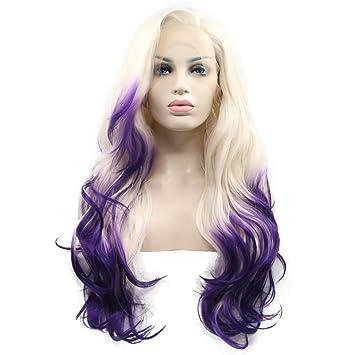 61 Cm Platin Blond Mit Lila Spitzen 2t Omber Body Wave Synthetik
