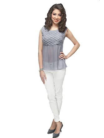 7ff318762489 ether Women s Melissa Yoke Flare Grid Style Hand Embroidered Top at ...