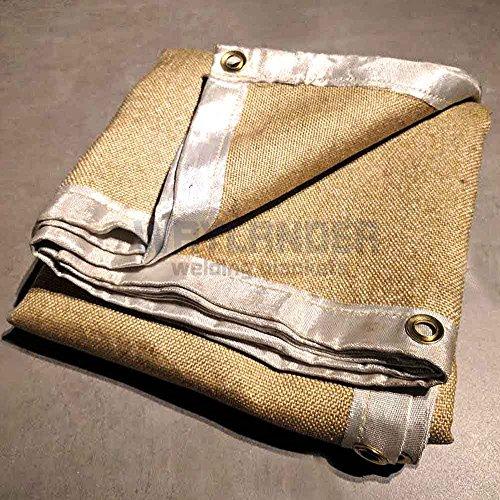 Waylander Premium Welding Blanket 6' x 6' 1400F Heavy Duty Vermiculite Impregnated Fiberglass with Brass Grommets