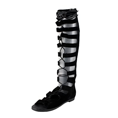 47ae8cfb4 Breckelle s Rita-71 Women Suede Gilly Tie Peep Toe Knee High Gladiator  Sandal