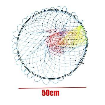 Stainless steel fishing landing net round glue wire fishing mesh folding