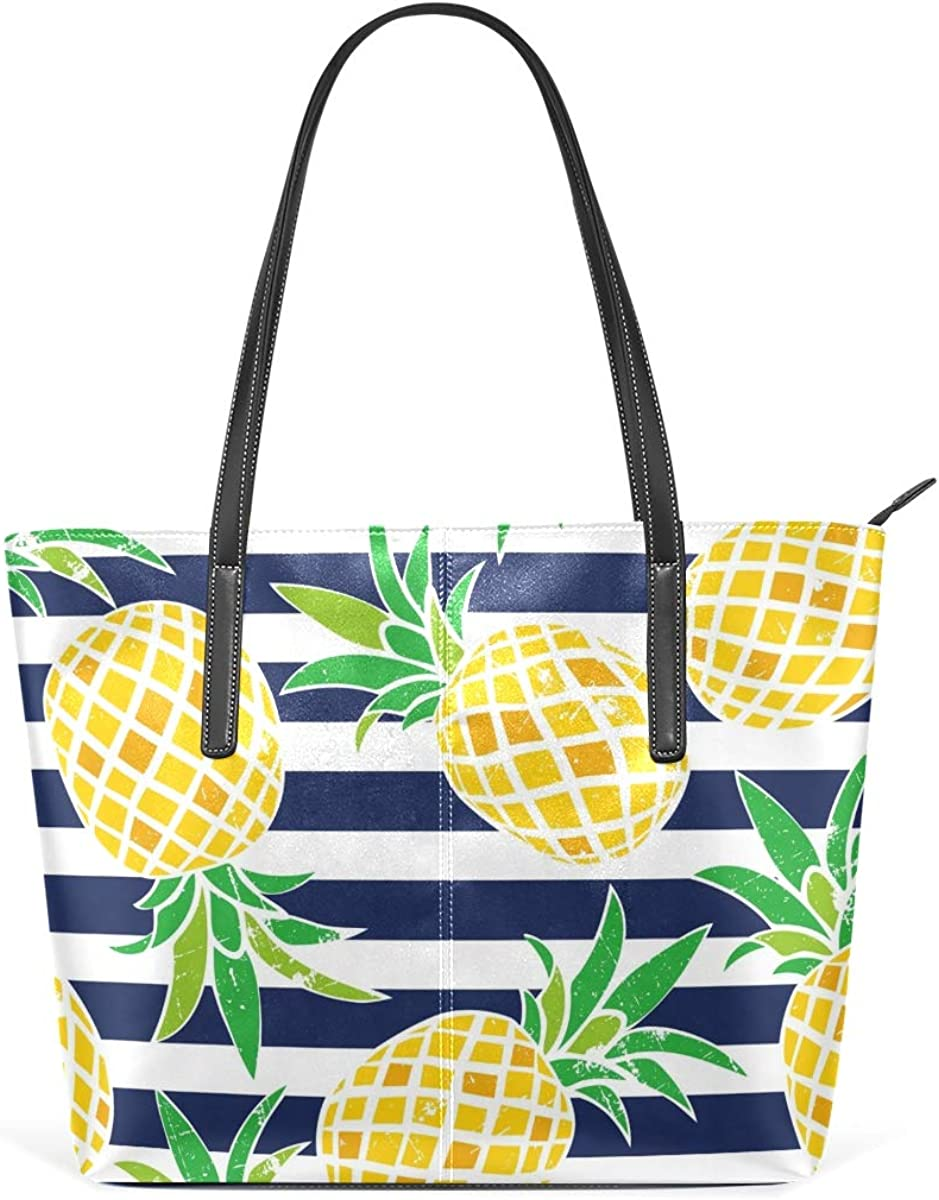 Womens Leather Tote Shoulder Bags Handbags with Pineapples