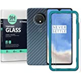 Ibywind Screen Protector for OnePlus 7T [Pack of 2] with Camera Lens Tempered Glass Protector,Back Carbon Fiber Skin Protecto