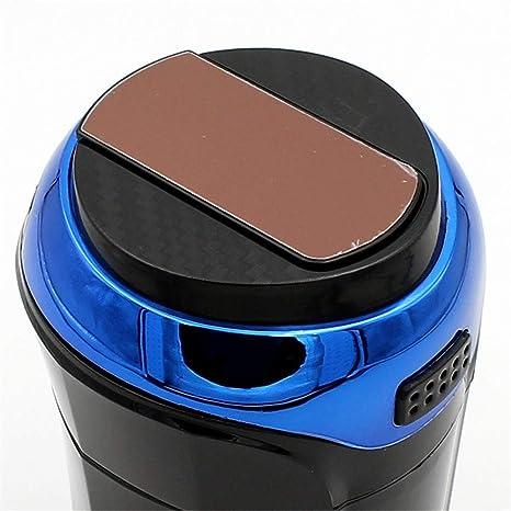 Cenicero para Coche, Fácil Limpieza Cenicero Desmontable para Automóvil Inoxidable con Tapa Luz LED Azul