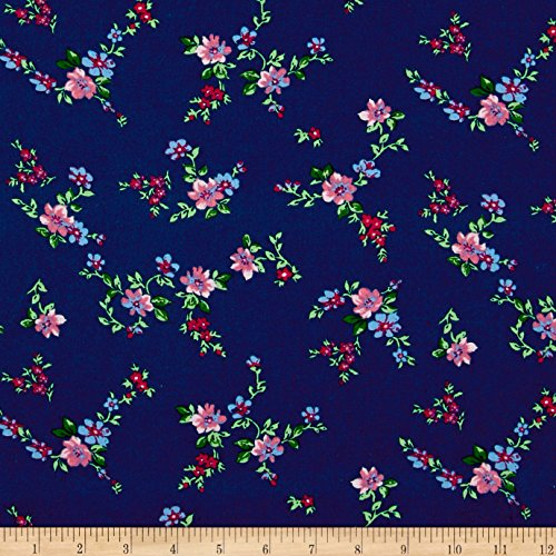 Santee Print Works Botanical Garden Floral Navy Fabric by The Yard