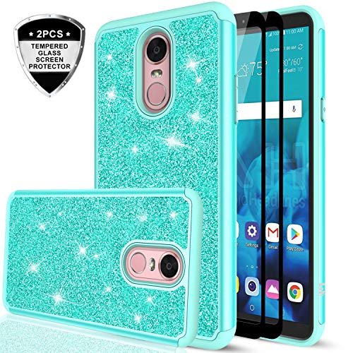 LG Stylo 4 Case, LG Stylo 4 Plus Case, LG Q Stylus Glitter Case with Tempered Glass Screen Protector [2 Pack], LeYi Bling Cute Girls Women Heavy Duty Protective Phone Case Cover for LG Stylo 4 TP Mint