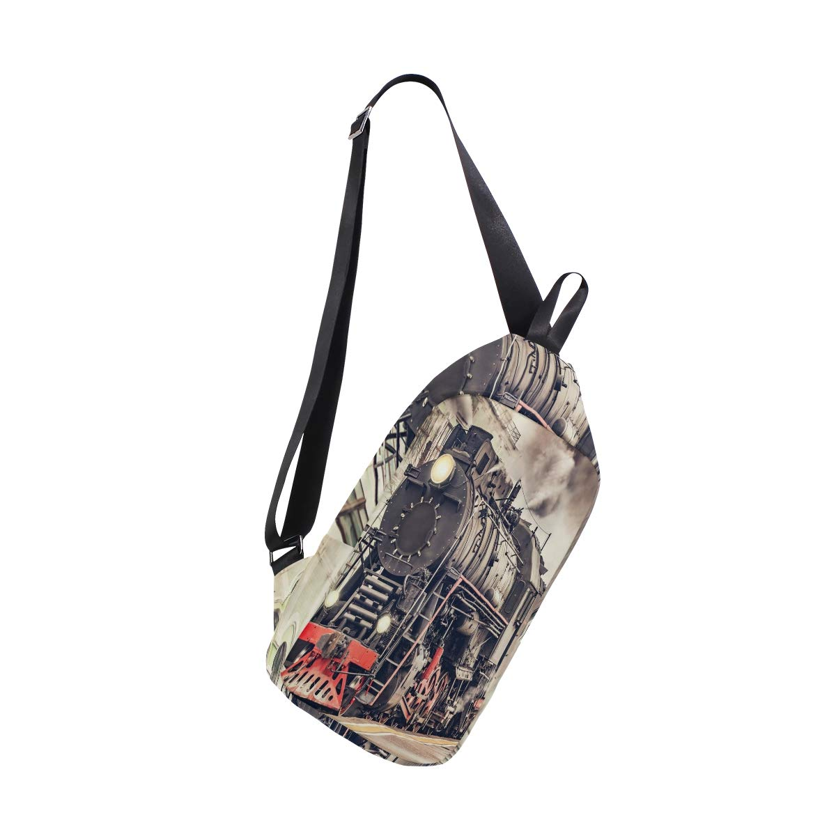 TFONE Vintage Steam Train Crossbody Bag Lightweight Chest Shoulder Messenger Pack Backpack Sling Bag