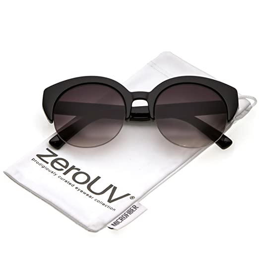 709b22ff25 zeroUV - Women s Wide Arms Semi Rimless Round Lens Cat Eye Sunglasses 53mm  (Black