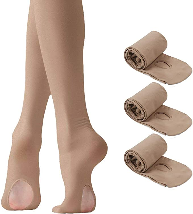Dance Will Dance tights for girls Ultra Soft Pro Ballet Transition Convertible Tights With Holes 3 Pairs