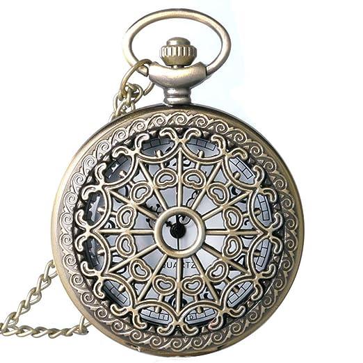 6eded9044 LYMFHCH Spider Web Hollow Vintage Quartz Steampunk Pocket Watch, Bronze  Steel Men Womens Watch with