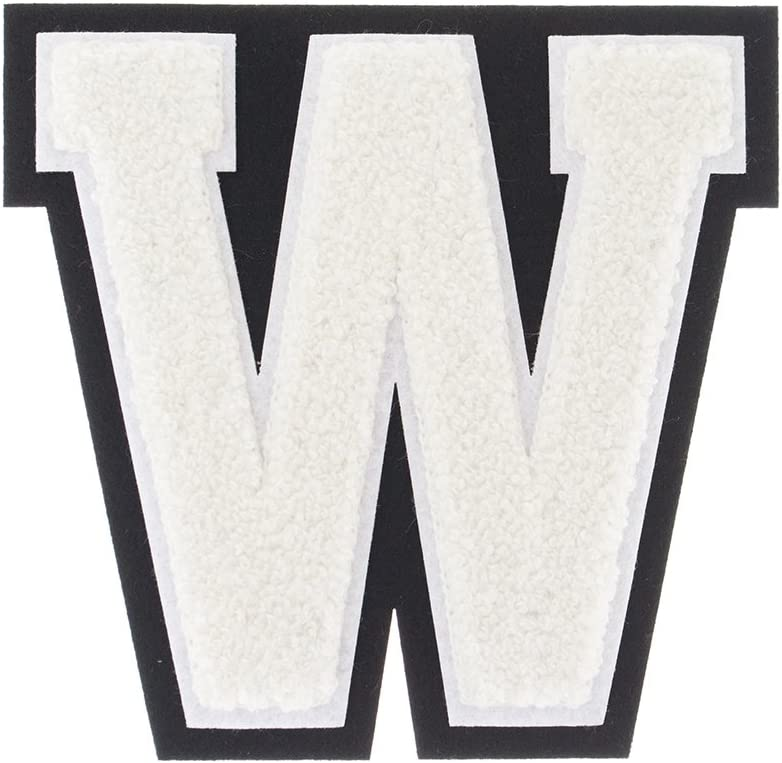S, Camouflage//White 4 1//2 Iron On//Heat Seal//Sew On Chenille Varsity Letter Patches for Letterman Jackets A-Z