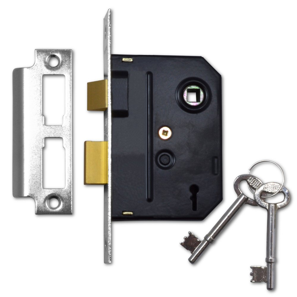 Union Locks 2295 2 mortajas, 76 mm, acabado cromado Cerradura