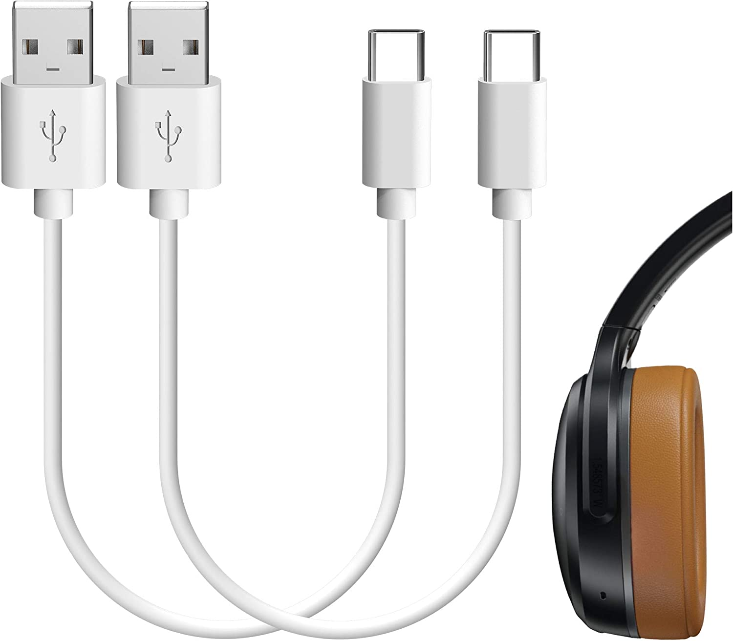 Geekria Type-C Charger Cord for Sküllcandy Indy Evo, Push, Sesh Evo, Indy Fuel True, Indy ANC, Crusher Evo, Crusher ANC/USB-A to USB-C Charging Cable for Headphones, Earbuds (White 2Pack 1FT)