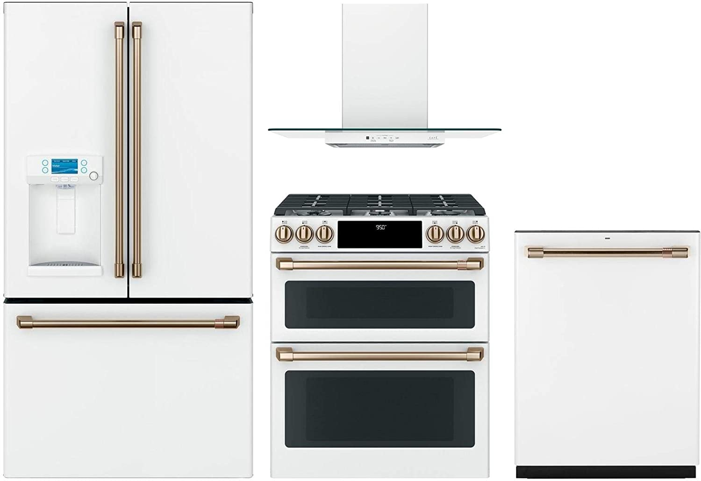"GE Cafe 4 Piece Kitchen Package CFE28TP4MW2 36""Smart French Door Refrigerator, C2S950P4MW2 30"" Slide-in Dual Fuel Range,CVW73014MWM 30"" Wall Mount Hood CDT836P4MW2 24""Built In Dishwasher inMatte White"
