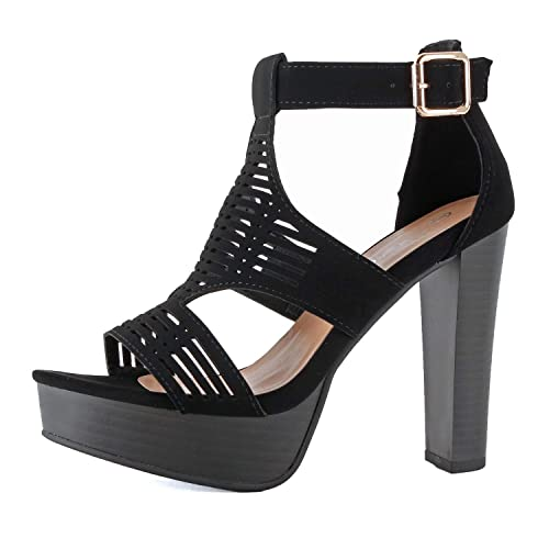 a5a40db0b Guilty Shoes - Womens Cutout Gladiator Ankle Strap Platform High Block Heel  Stiletto Heeled Sandals (