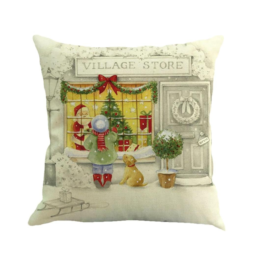 Happy Christmas Square Decorative Throw Pillows Cases Flax Printing Dyeing Sofa Bed Cars Cushion Covers Pillowcases Santa Tree, 18''x18'' Inches 45cm45cm, Xmas Decor&Gifts (18''x18'' Inches/45cm45cm, H)