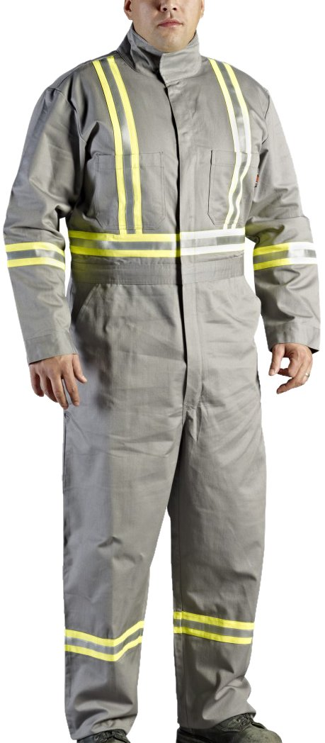 Walls Grey 9-Ounce FR 88/12 Striped Coverall, HRC 2, ATPV, 12.7 cal/cm2, CGSB 155.20, CSA Z462, NFPA 2112, NFPA 70E and ASTM F1506 40R Walls FR C62045GY9 40R