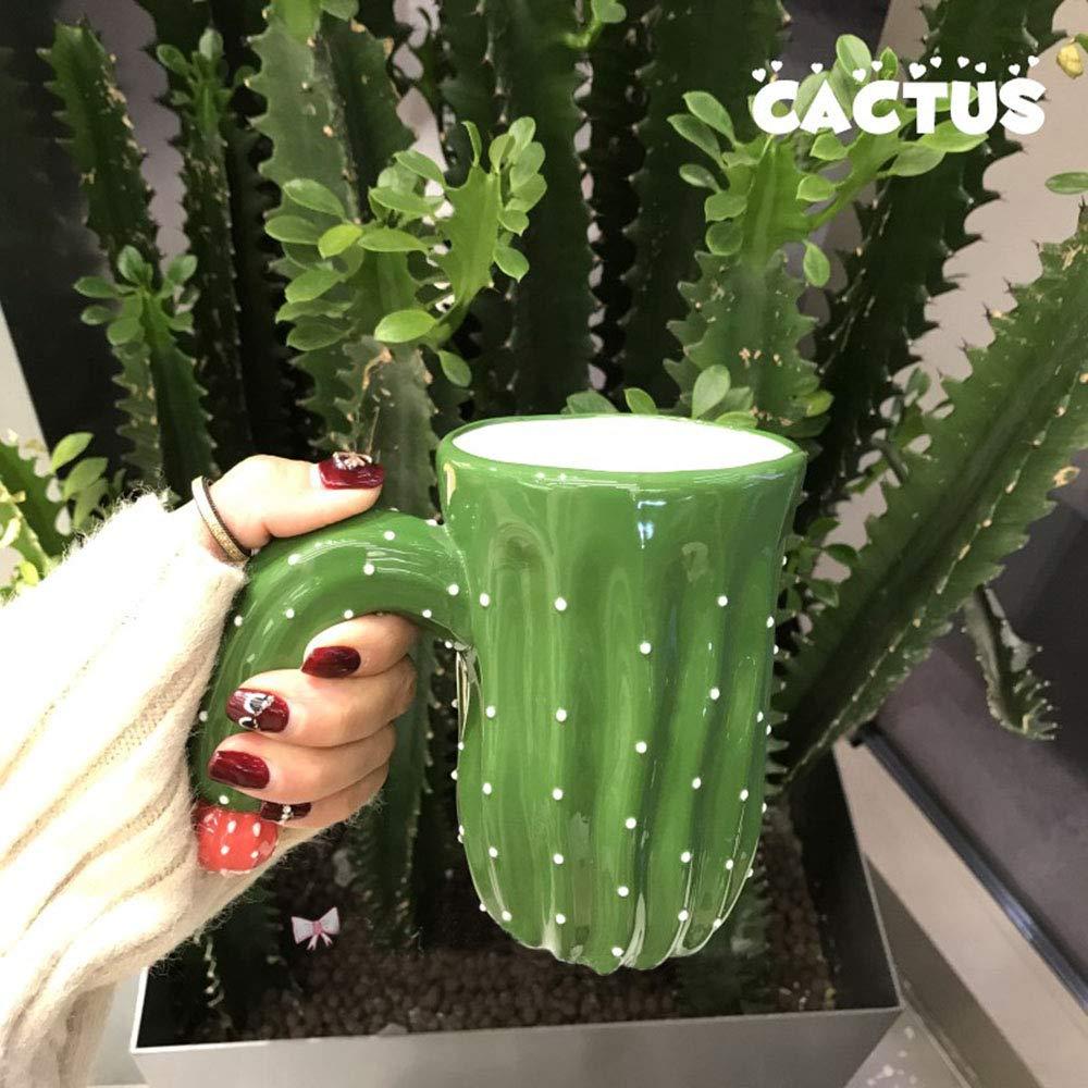 Novelty Coffee Mugs,Individual Cactus Ceramic Mug for Hot Water Tea Beer Purely Handmade Fine Bone china Cups Creative Halloween Gift Idea 14 OZ