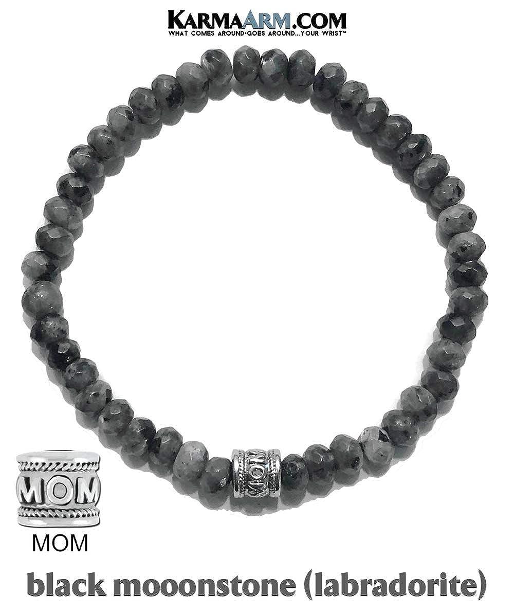 Beaded Wristband MOM Bead Self-Care Wellness KarmaArm Mothers Love: Black Moonstone Reiki Healing Energy Mantra Meditation Zen Jewelry Yoga Chakra Stretch Charm Bracelets