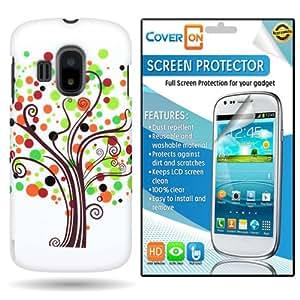 CoverON® Alcatel Sparq II Hard Plastic Slim Case Cover Bundle with Clear Anti-Glare LCD Screen Protector - Green Orange Contempo Tree