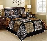 7 Piece MARTEN Fuax Fur Safari Patchwork Comforter Set- Queen King Cal.King Size (Cal.King, multicolor)