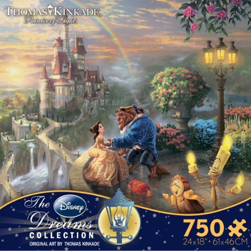 Thomas Kinkade The Disney Dreams Collection: Beauty and The Beast Falling in Love Puzzle image