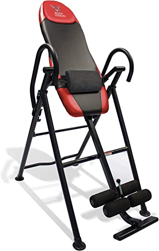 Body Vision IT9550 Deluxe Inversion Table with Adjustable Head Pillow Lumbar Support Pad, Red – Heavy Duty up to 250 lbs