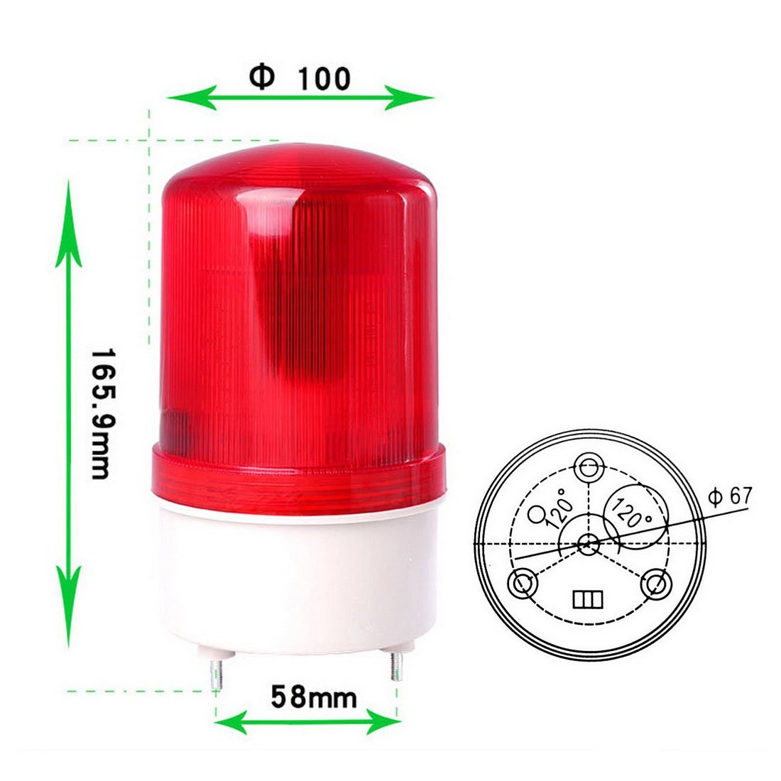 WerFamily 100-110dB Buzzer Red 20 LED Warning Light Signal Tower Lamp Industrial AC 110V with Base