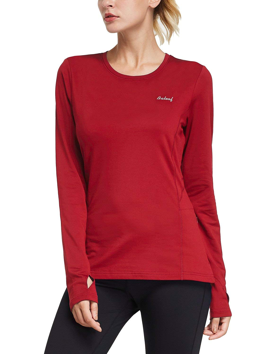 BALEAF Women's Thermal Fleece Tops Long Sleeve Running Shirt with Thumbholes Zipper Pocket Red Size XS by BALEAF