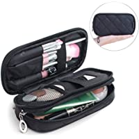 Samtour Makeup Bag Portable Makeup Pouch Makeup Brush Holder 2 Layer Cosmetic Organizer for Travel Women Girls (Black…