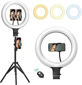 """Ring Light 14"""" with Tripod Stand and Phone Holder LED Circle Selfie Lights Halo Lighting for Makeup Live Streaming Photo Photography Vlogging Video Compatible with iPhone"""