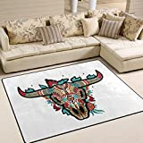 ALAZA Mexican Sugar Skull Aztec Tribal Area Rug Rugs for Living Room Bedroom 7' x 5'