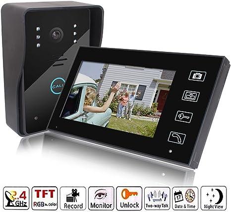 Keedox Portier Interphone Video Visiophone Sans Fil Ecran 7 Tactile Vision Nocturne Moniteur De Surveillance Carillon électronique