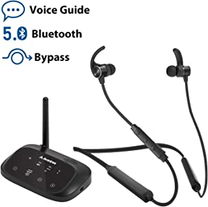 Avantree HT5006 Wireless Headphones Earbuds for TV Watching, Neckband Earphones Hearing Set w/Bypass Bluetooth Transmitter for Optical Digital, RCA, 3.5mm Ported TVs, Plug n Play, No Delay