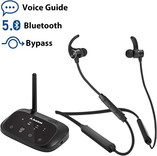 Avantree HT5006 Wireless Headphones Earbuds for TV Watching, Neckband Earphones Hearing Set w Bypass Bluetooth Transmitter for Optical Digital, RCA, 3.5mm Ported TVs, Plug n Play, No Delay