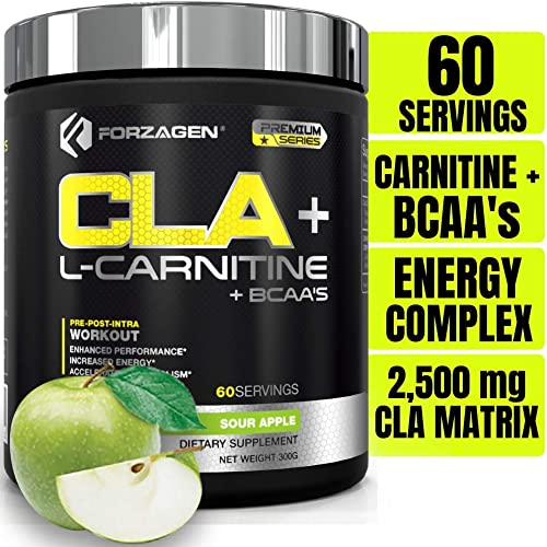 Forzagen Cla L Carnitine Bcaa Powder – Bcaas Amino Acids with Cla Powder Increase Energy Free Caffeine Pre Workout Morning Recovery 60 Servings Keto Burn Premium Cla Supplements