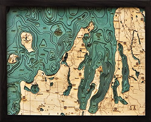 Grand Traverse Bay 3-D Nautical Wood Chart, 16