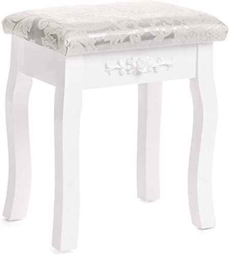 Mecor Vanity Stool, Makeup Dressing Bench Carved Flowers Backless Padded Cushioned Seat Wood Legs White